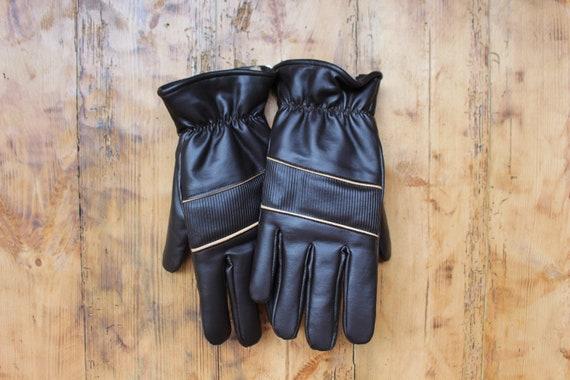 NOS Soviet mens faux leather gloves SIZE S faux fu