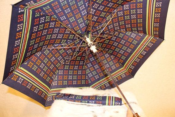 Vintage umbrella Colorful rain umbrella parasol S… - image 9
