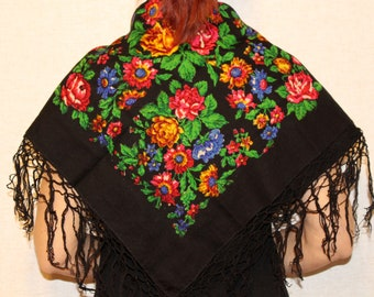 NOS AUTHENTIC Russian pure wool scarf with LABEL shawl Floral wool scarf Russian traditional wool scarf Russian folk shawl scarf flowers