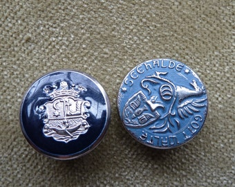 Vintage Metal Buttons Military Crest Silver Sewing Steampunk Larp Supply