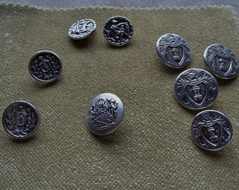 Vintage Metal Shank Buttons Military Crest Steampunk Larp Supply