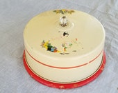 Vintage Metal Cake Server Wood Base Plate Red Kitchen Spanish Fiesta Decals Cake Carrier Stand