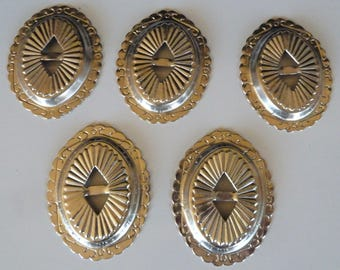 Oval Slide Buckle Conchos Metal Large Silver Tone Large Western Bolo