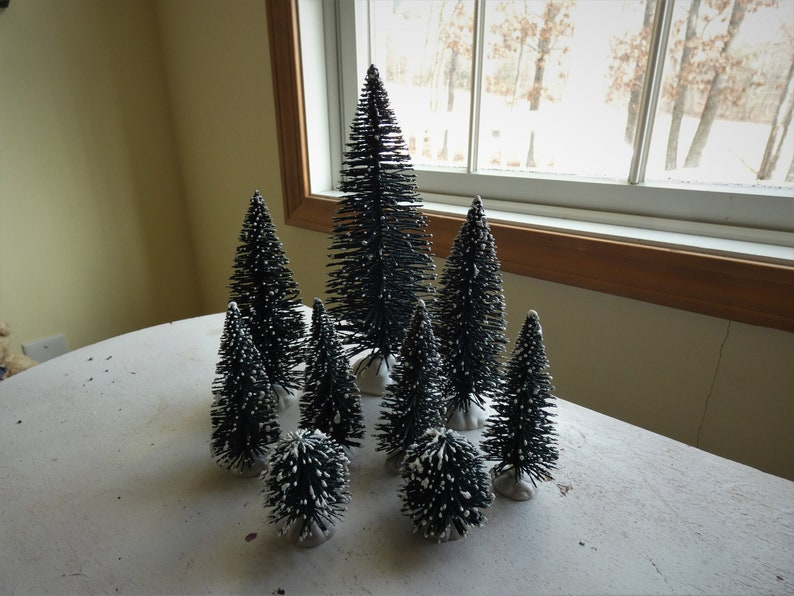 Christmas Village Lemax Evergreen Snowy Frosted Sisal Trees  Decoration Fairy Garden Supply
