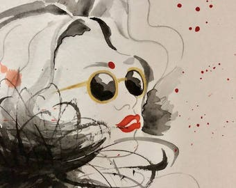 Fashion Illustration watercolour Woman with Red Lips