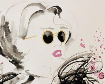 Fashion Illustration watercolour Woman with Pink Lips