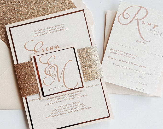 Featured listing image: Rose Gold Wedding Invitation Blush Wedding Invitations glitter wedding invites Rose Gold {Petunia design}