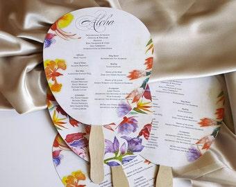 Wedding fan, program wedding fan, tropical program fan for wedding - Buenos Aires design