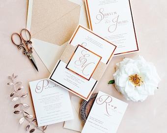 Rose Gold Wedding Invitation, Elegant blush Wedding Invitations, Rose gold glitter wedding invitations {Blush Petunia design}