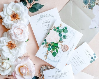 Floral Vellum Wedding Invitation, vellum wrap wedding invitations with floral envelope liner and wax seal {Bellagio design}
