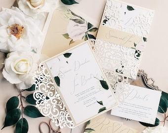 Laser cut wedding invitation Greenery wedding invite sample  {Dainty design}