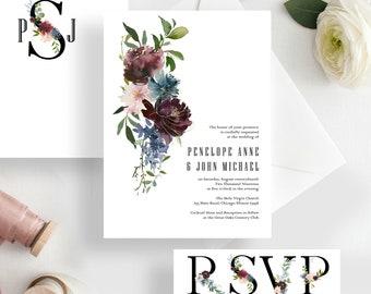 Gut Minimalist Wedding Invitation Set, Botanical Wedding Invitation Marsala  Burgundy Floral Wedding {Fascinated Design}