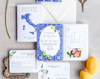 Italy Inspired Wedding Invitation, Passport Wedding Invitation, Invitation Suite For Destination Wedding {Capri Design}