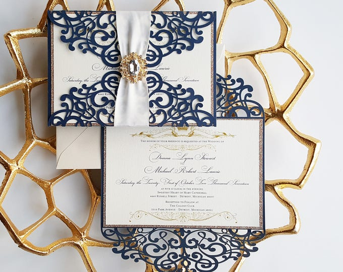 Featured listing image: Princess wedding invitation, laser cut wedding invitation navy and gold, Royal Wedding invite navy blue {Hyacint design}