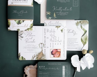 Jungle Inspired Wedding Invitation, Tropical Destination Wedding Passport, Passport Wedding Invitation {Bali design}
