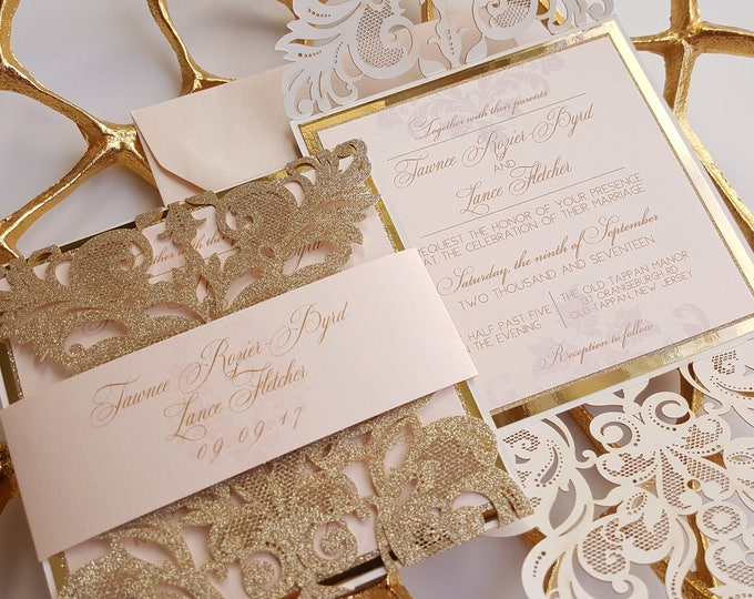 Featured listing image: Gold Laser cut wedding Invitation lace, Gold Glitter Wedding Invite sample, Gold and blush invitation wedding - Astral design
