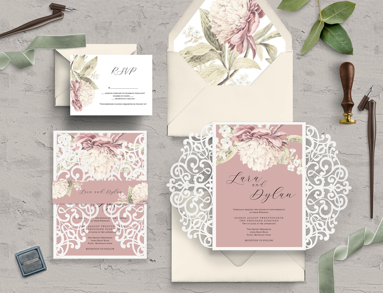 Wedding Invitations Rose: Dusty Rose Wedding Invite, Laser Cut Invitation, Vintage