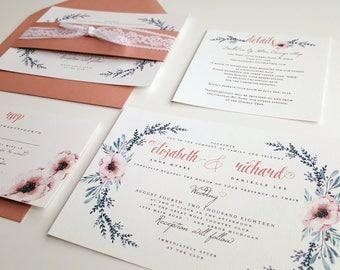 Dusty Rose wedding invitation, lace wedding invite, Mauve invitation {Camellia design}