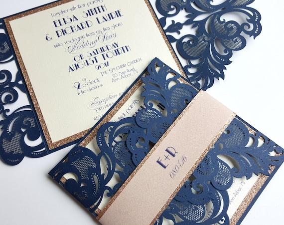 Laser Cut Wedding Invites: Navy Blue Wedding Invitations Laser Cut Gatsby Wedding