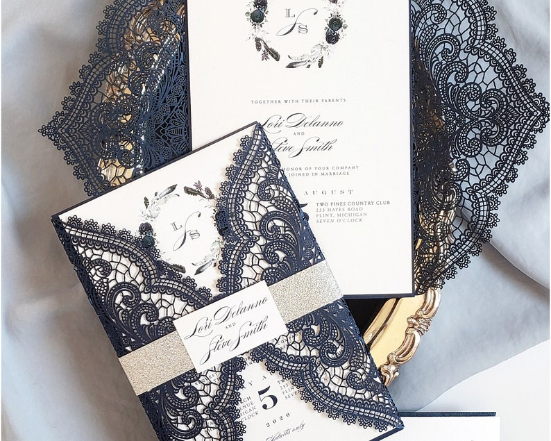 Navy Lace Wedding Invitations Dusty Blue Invitation Floral And Invites Laser Cut Berlin Design