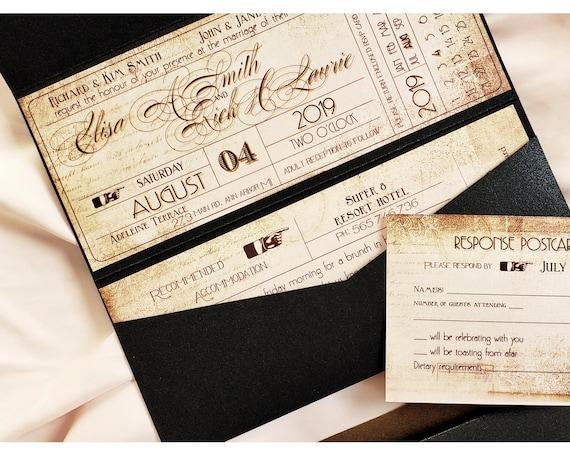 Industrial Wedding Invitation Vintage Ticket Wedding Etsy
