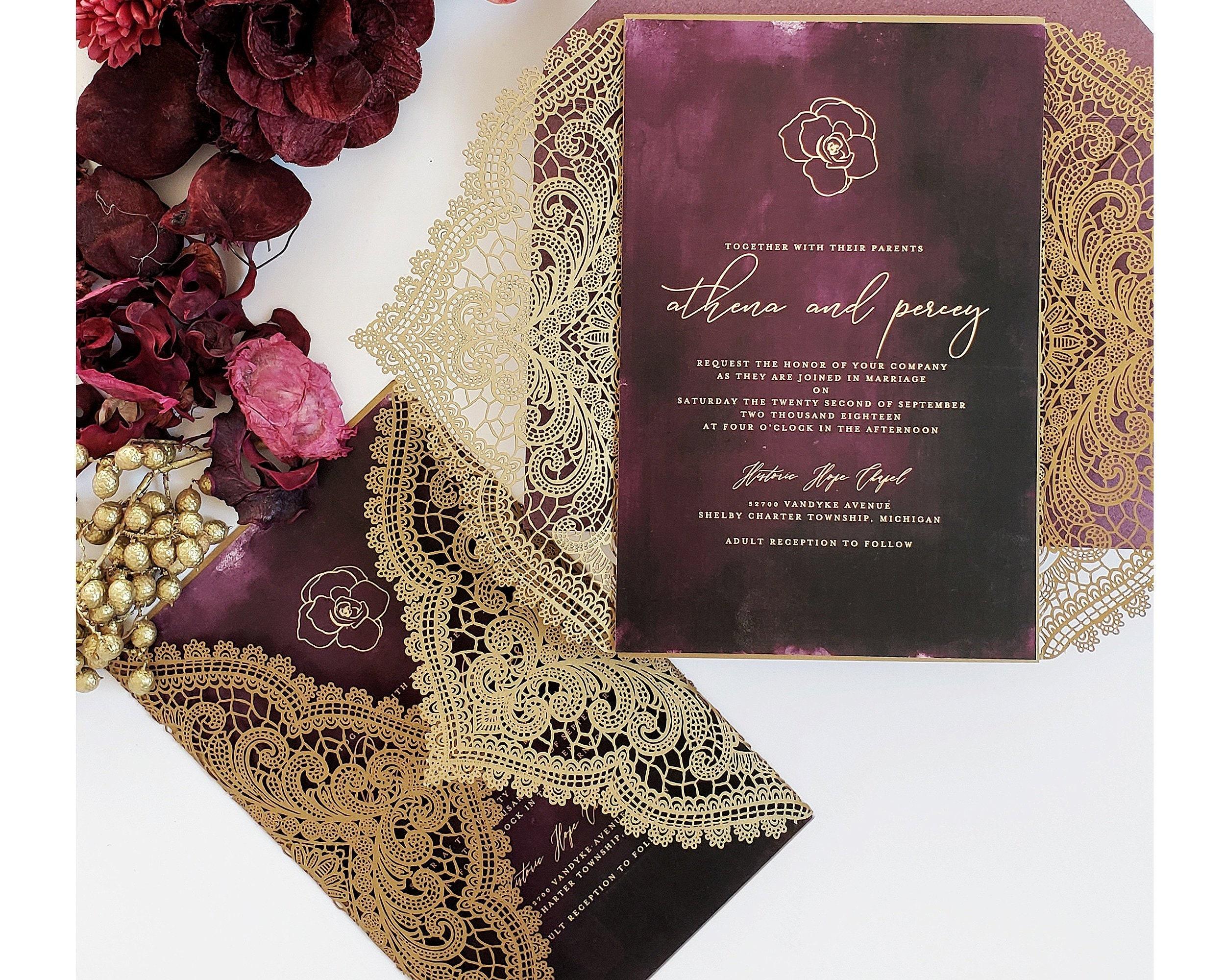 Purple And Gold Wedding Invitations: Moody Wedding Invitations Gold And Marsala, Purple And