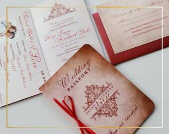 Passport Wedding invitation Wedding invitation passport Destination wedding invitation passport boarding pass {Dorchester design}