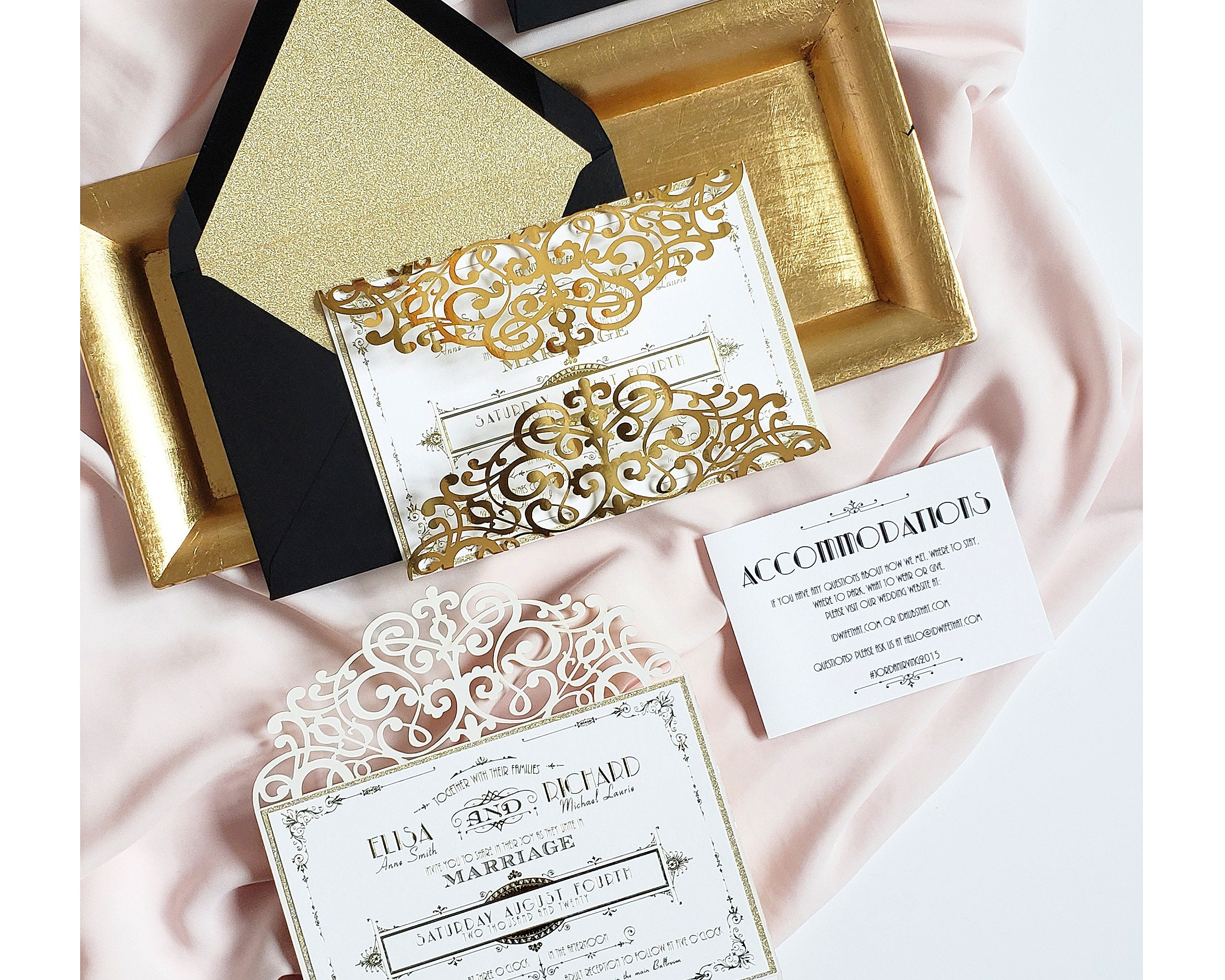 Artist Wedding Invitations: Gatsby Wedding Invitation Sample Art Deco Laser Cut