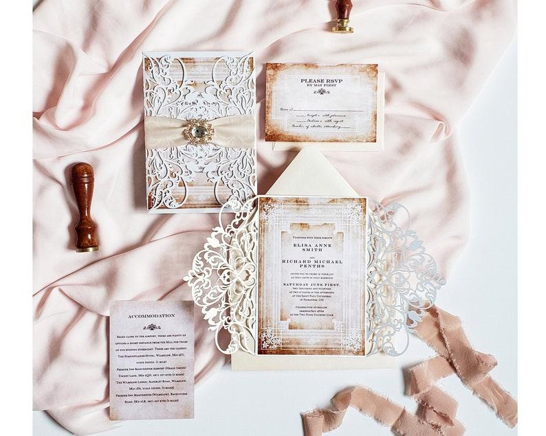 Fairytale Wedding Invitations With Brooch Princess Invitation Vintage Laser Cut Invite Sample