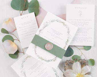 Garden wedding Invitation suite, invitation with wax seal for spring wedding, floral invitation suite {Brussels design}