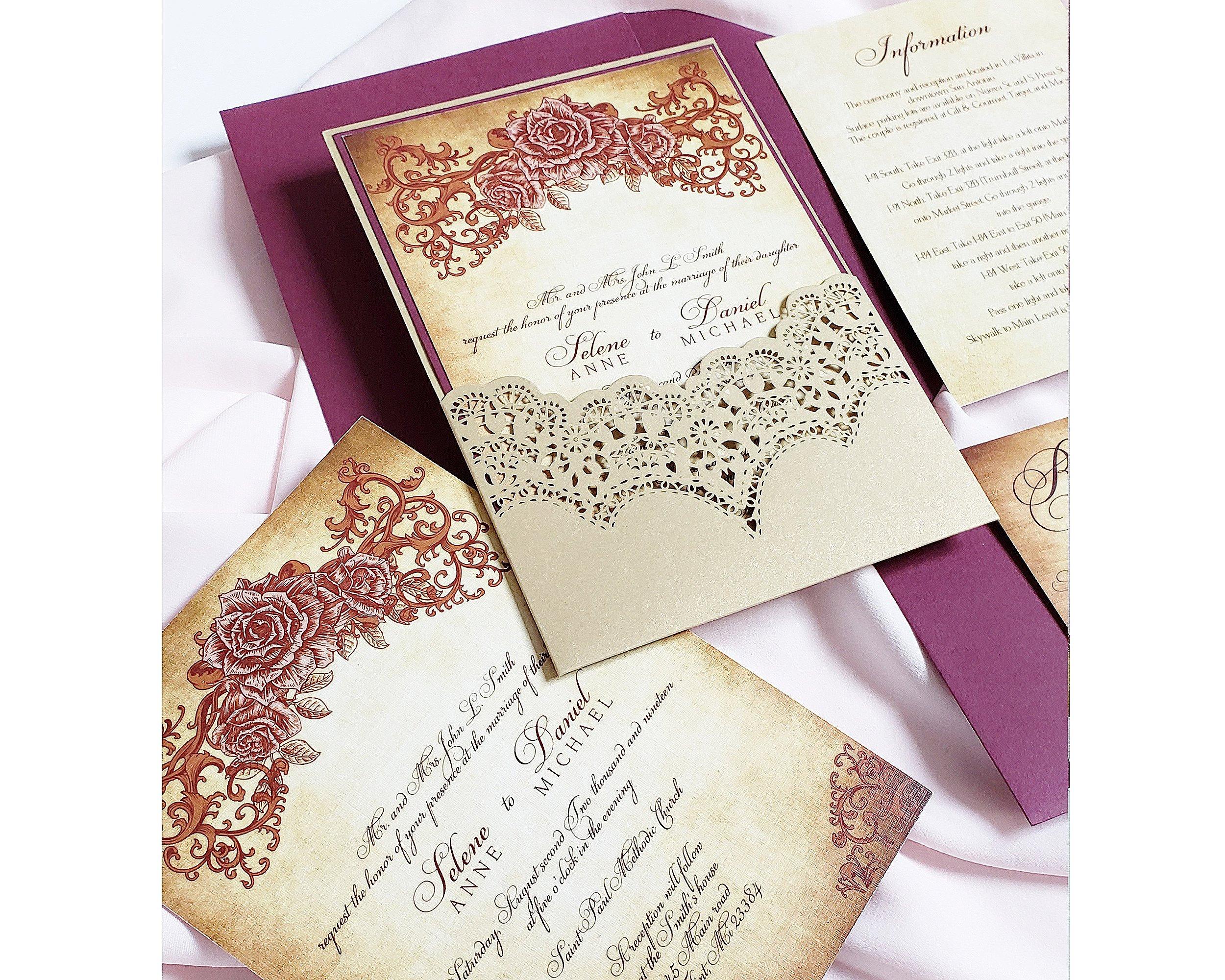 Burgundy And Gold Wedding Invitations: Vintage Burgundy Gold Wedding Invitation, Vintage Floral