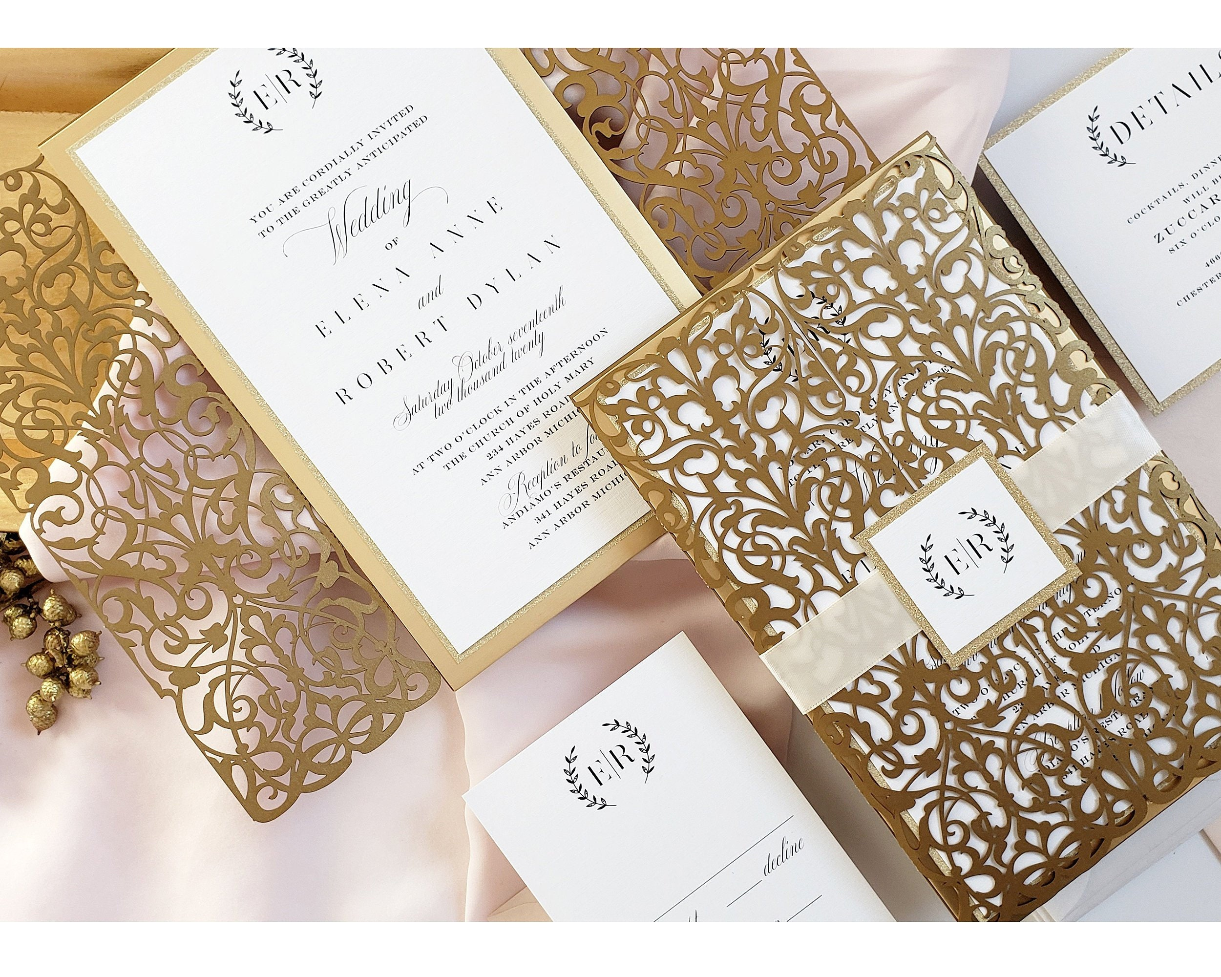 Gold Wedding Invitation, Royal Wedding Invitation, Gold