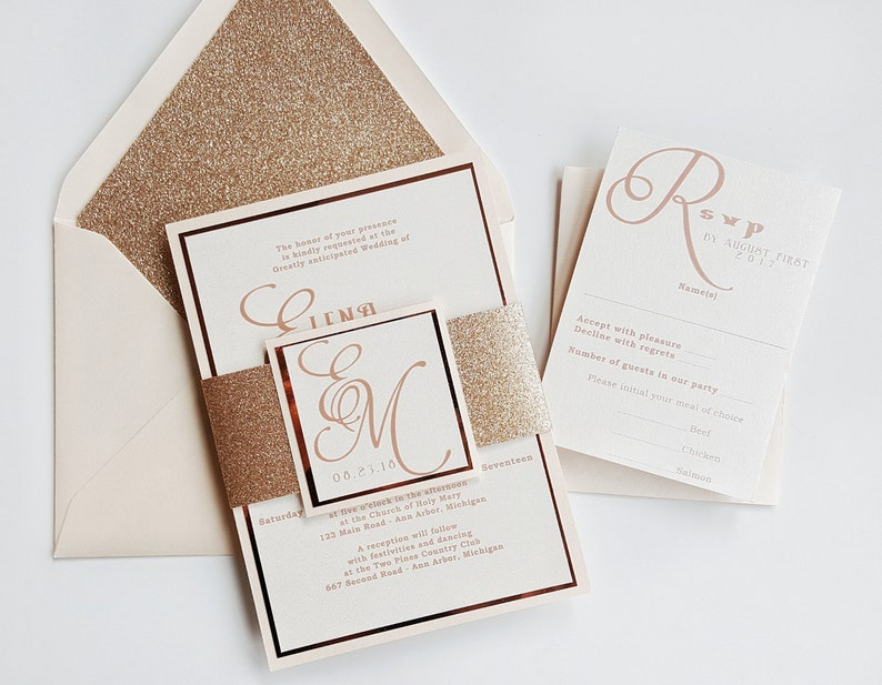 Gold Wedding Invitations.Rose Gold Wedding Invitation Blush Wedding Invitations Glitter Wedding Invites Rose Gold