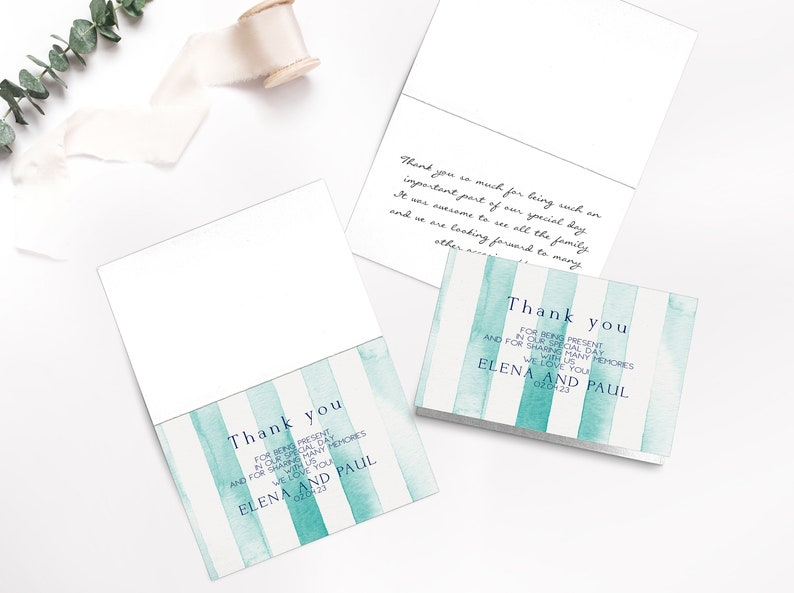 folded thank you card for wedding {Relaxing design} Wedding Thank you card