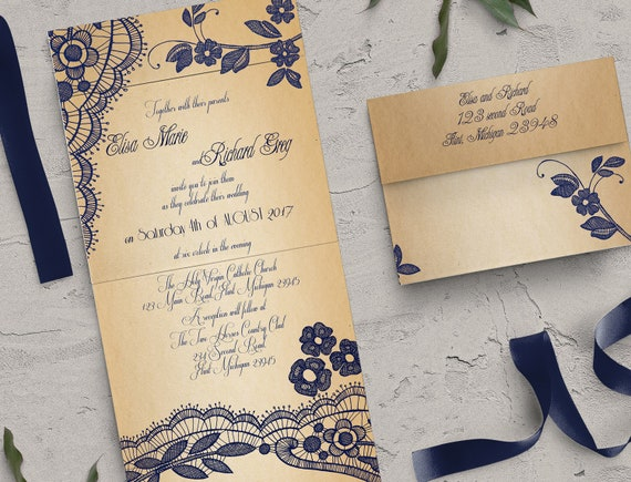 Elegant Lace Seal And Send Wedding Invitation Card Cheap Etsy