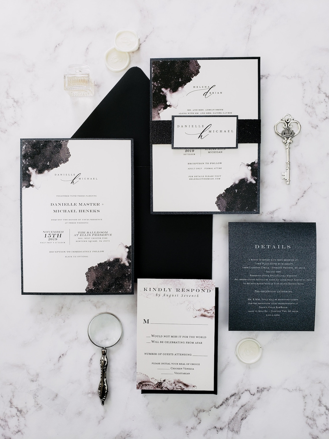 Modern black and white wedding invitations watercolor modern image 0