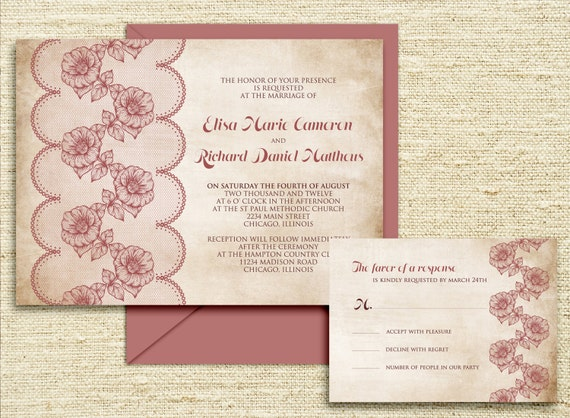 Ready To Print Wedding Invitations: Items Similar To LACE Ready To PRINT DIGITAL Wedding
