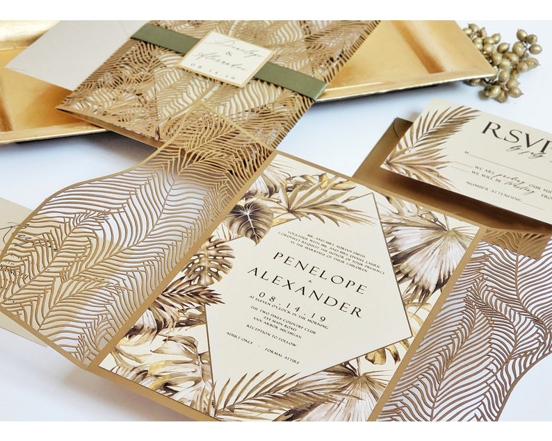 645415fd Luxury Tropical Wedding Invitations Laser cut Tropical | Etsy