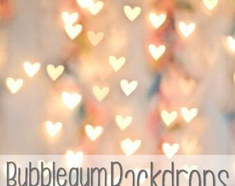 Bokeh Hearts - Vinyl Photography Backdrop Floordrop Prop