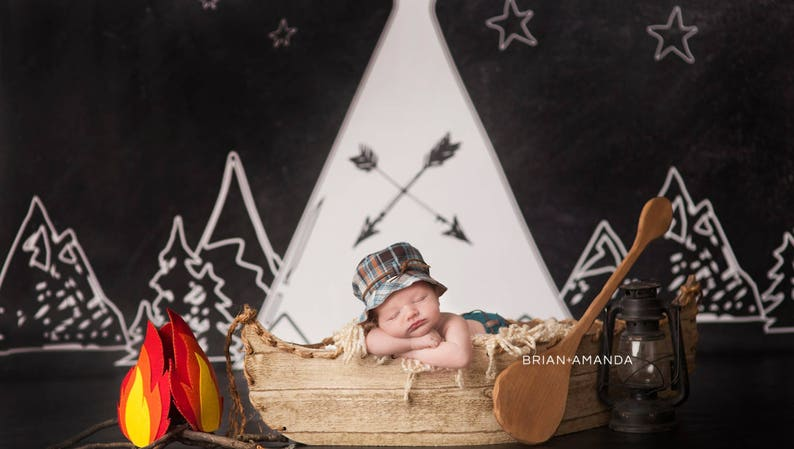 Chalkboard Campsite  Vinyl Photography  Backdrop Photo Prop image 0