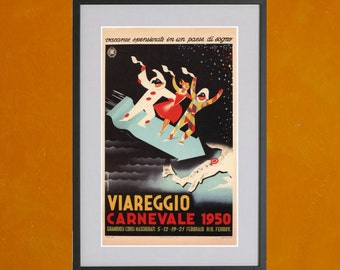 Viareggio Carnevale, 1950 - Retro Travel Poster - 8.5x11 Poster Print - also available in 13x19 - see listing details