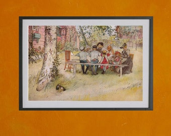 Breakfast Under The Big Birch, Carl Larsson, 1896 - 8.5x11 Poster Print - also available in 13x19 - see listing details