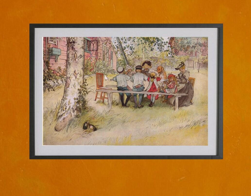Frühstück unter der großen Birke Carl Larsson 1896 8.5 x   Etsy