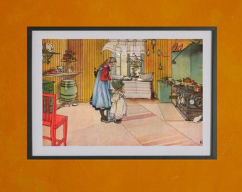 The Kitchen, Carl Larsson, 1898 - 8.5x11 Poster Print - also available in 13x19 - see listing details