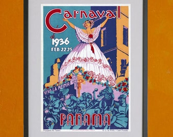 Panama Carnaval Poster, 1936 - 8.5x11 Poster Print - also available in 13x19 - see listing details