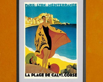 La Plage De Calvi, 1928 - 8.5x11 Poster Print - also available in 13x19 - see listing details