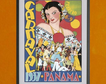 Panama Carnaval Poster, 1937 - 8.5x11 Poster Print - also available in 13x19 - see listing details
