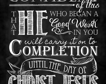 scripture art philippians 1 3 46 chalkboard etsy