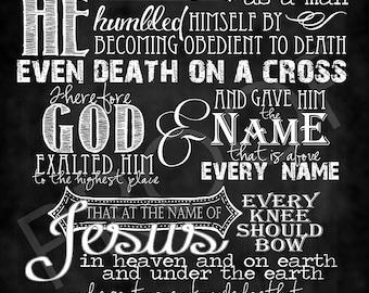 Scripture Chalkboard Art - Philippians 2:8-11