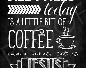Chalkboard Style Art: Coffee and Jesus Quote